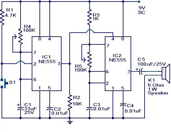 Doorbell Circuit Using Ne555 Ic Electronic Schematic
