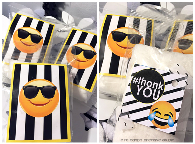cotton candy, emoji cotton candy favors, laughing emoji, shades emoji