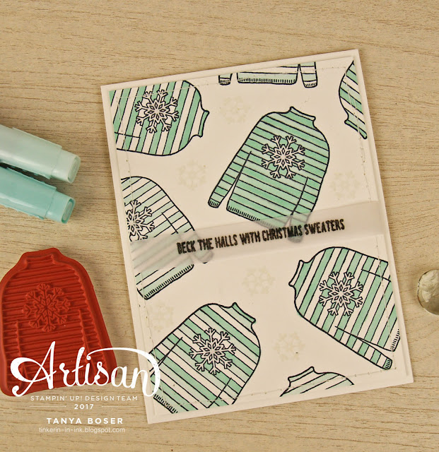 Christmas Sweaters from Stampin' Up! paired with the Stampin' Blends.. it's a perfect mix! ~Tanya Boser for the 2017 Artisan Design Team