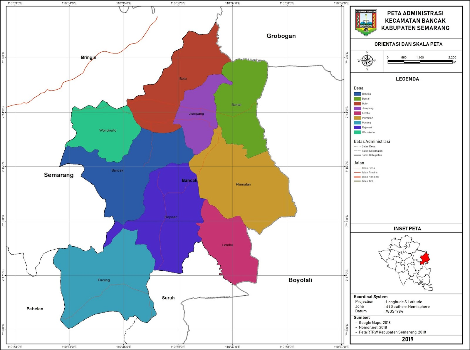 Peta Administrasi Kecamatan Bancak, Kabupaten Semarang ...
