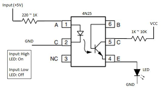 Blog of Wei-Hsiung Huang: How to use 4N25 Optocoupler