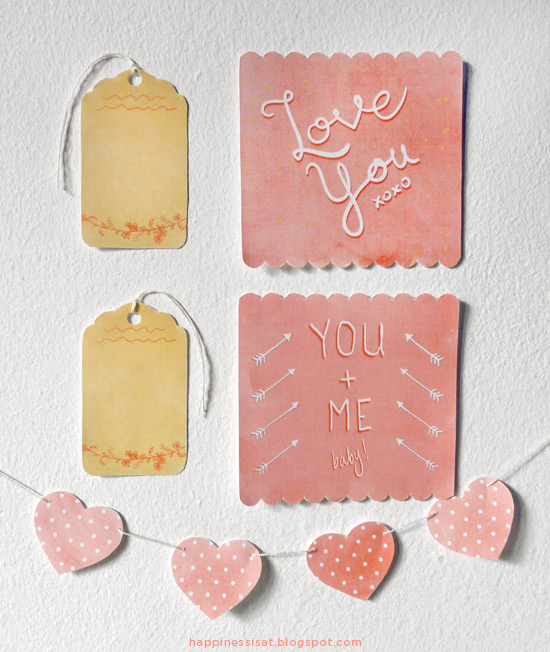 Happiness is... freelance illustration, graphic design - Valentine's Day free printable gift tags, cards and heart bunting