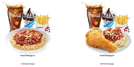 Jollibee party package price 2018 - Food Package A and Food Package B
