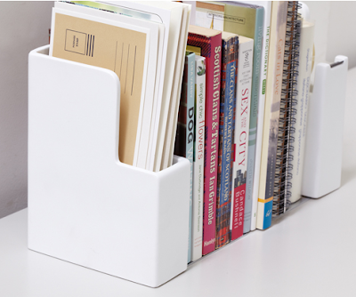 letter holder bookend, white
