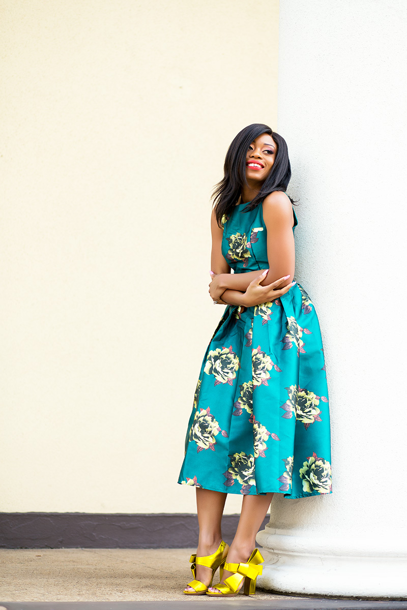 chicwish peonies print dress, spring floral dress, Delpozo bow shoes, www.jadore-fashion.com