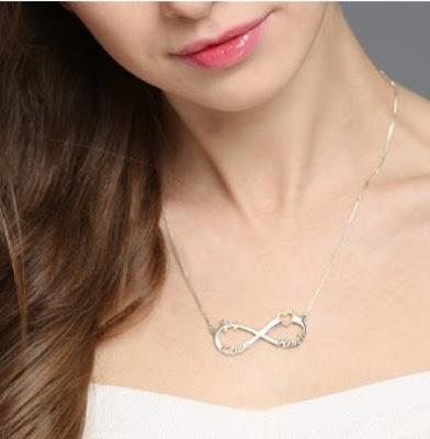 Mother's Day Significant Infinity Necklace Gift with Heart and 3 Names -Price: $ 49.95