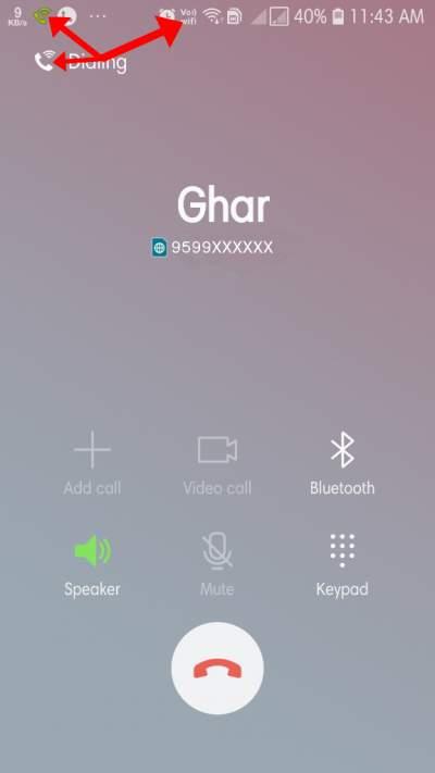 Wifi Calling Screen and Icon in Hindi