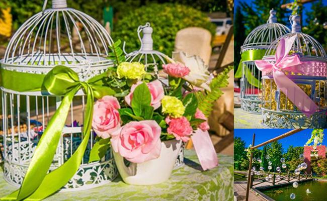 pink green wedding decor