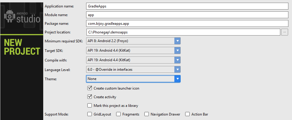 How to create gradle build project in using android studio 13