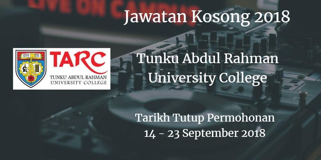 Jawatan Kosong TARUC 14 - 23 September 2018