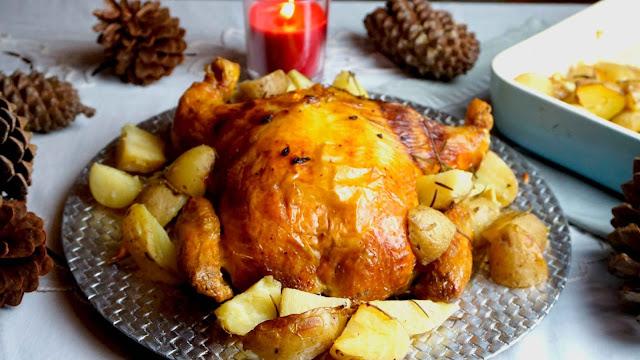 pollo relleno de navidad con jamon, queso y bacon