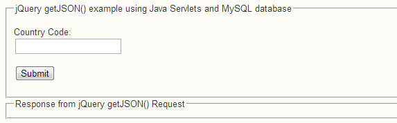 jQuery getJSON() example using Java Servlet