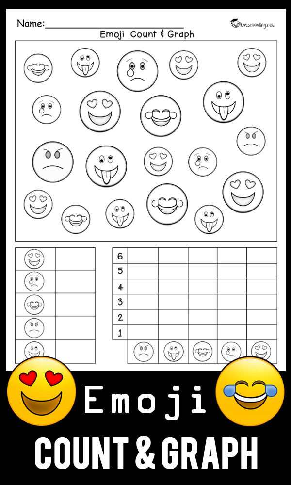 FREE printable math worksheet for kindergarten kids to practice graphing with a fun Emoji theme. Count each type of emoji face, write the quantity numbers and then graph them. Great math activity for Emoji lovers!