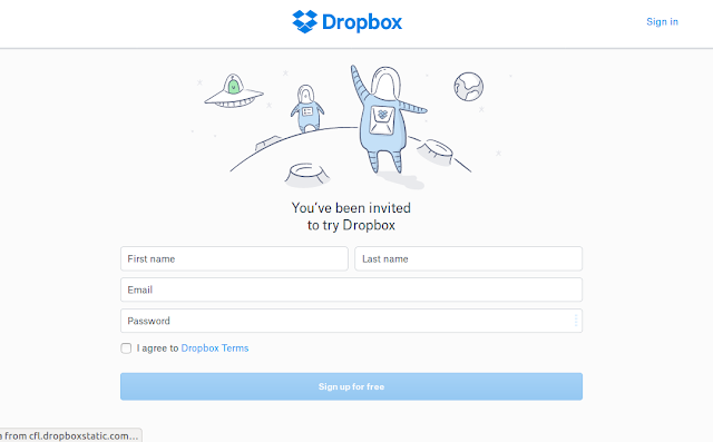 التسجيل في دروبوكس