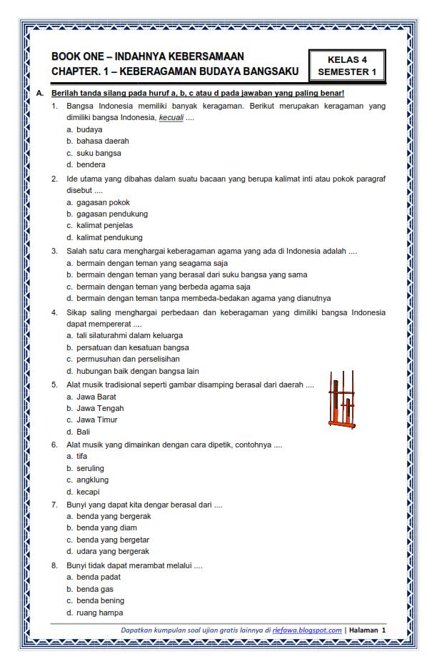 Download Soal Tematik Kelas 4 Sd Mi Semester 1 Kurikulum