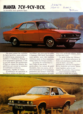 Sales brochure page for Opel Manta A series