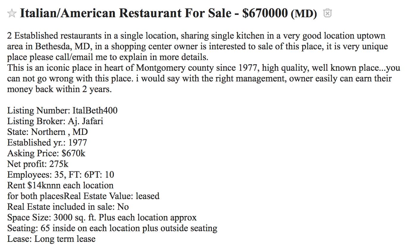 Robert Dyer @ Bethesda Row: Bethesda Italian restaurant for sale