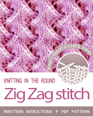 Circular Knitting - Zig Zag stitch pattern. Techniques Used: Working in the round, Knit, Purl, K2tog, SSK. #CircularKnitting #knitintheround