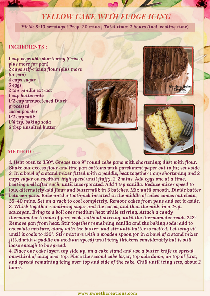 YELLOW CAKE WITH FUDGE ICING RECIPE