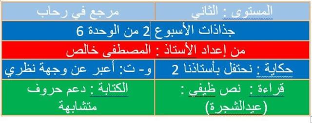 جذاذات للأسبوع الثاني من الوحدة 6 مرجع في رحاب اللغة العربية  المستوى الثاني