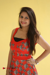 Actress Shaheena Pictures in Red Dress at V Movie Press Meet  0006.JPG
