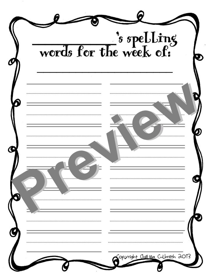 Blooming Into First Grade: Spell It Out! Spelling Homework