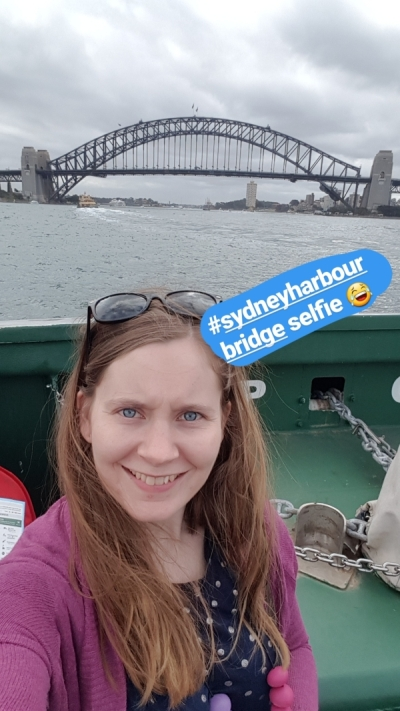 selfie with sydney harbour bridge from manly ferry | away from the blue
