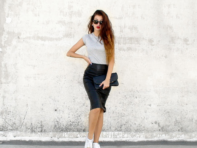 pencil midi leather skirt outfit ideas pinterest