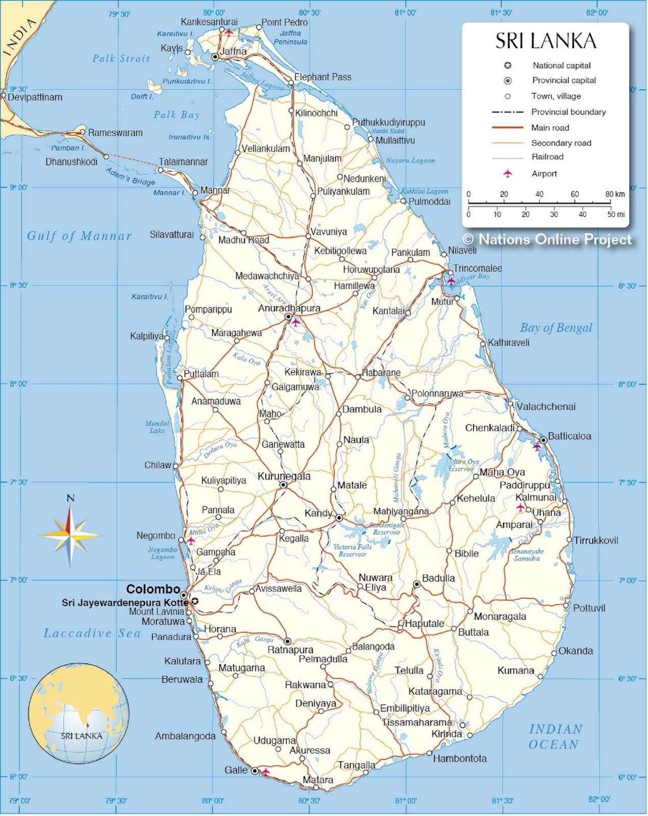 Peta Negara Sri Langka
