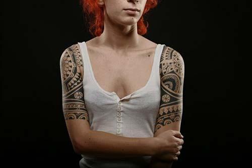 kadın yarım kol maori tribal dövmeleri woman half sleeve maori tribal tattoos