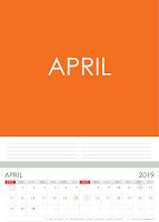 Simple Desain Kalender 2019 Indonesia bulan April beserta Hari Libur Nasional