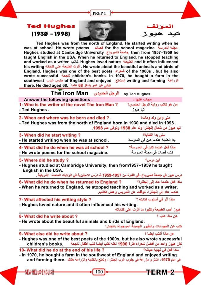 افضل واحدث مذكرات اللغة الانجليزية الترم الثانى للصف الاول الاعدادى منهج جديد 2016
