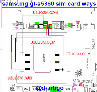Follow This Image You Can Solve Your Device Samsung Gt-s5360 insert sim. Check this green mark component use your avo miter if you find any component is short/ dead just replace it. also check this red color, green and blue color line if you find any line is broke re shouldering this line use copier coil. i hope you can solve your device problem. thank you.