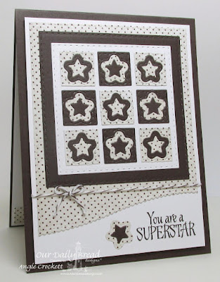 ODBD Superstar, ODBD Vintage Ephemera Paper Collection, ODBD Custom Double Stitched Stars Dies, ODBD Custom Sparkling Stars Dies, ODBD Custom Leafy Edged Borders Dies, ODBD Custom Double Stitched Squares Dies, ODBD Custom Squares Dies, Card Designer Angie Crockett