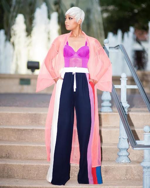 Monica Brown Pink Fishnet Pink Kimono