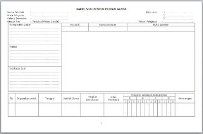 Format Kartu Soal Pilihan Ganda dan Kartu Soal Uraian Excel Otomatis
