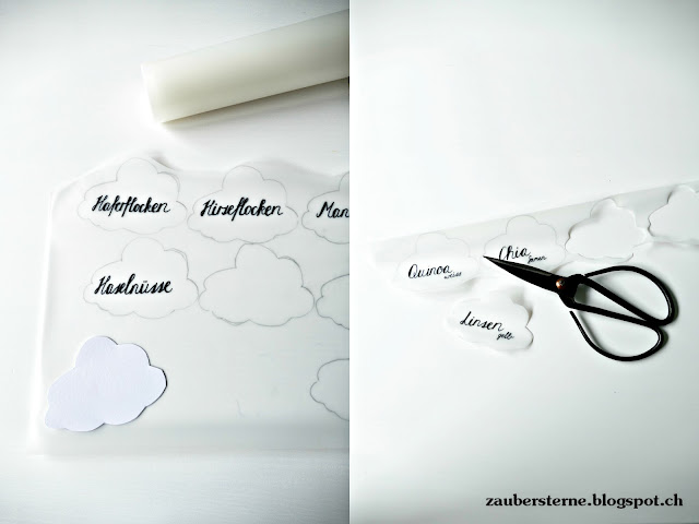 Vorratsdose beschriften, Lettering Vorräte, Vorratsschrank, Küchenorganisation, ablösbare Etiketten, DIY Wolke, Fensterfolie statisch