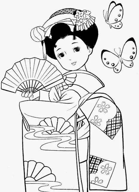 Desenhos De Meninas Japonesas Para Colorir Pintar