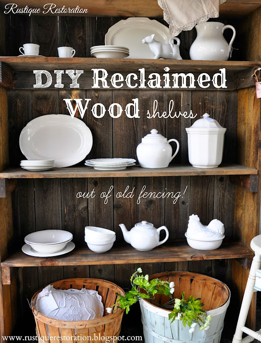 Reclaimed Wood Shelves and White Dishware!