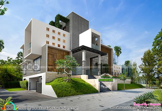 Rendering of ultra modern contemporary house in above road level