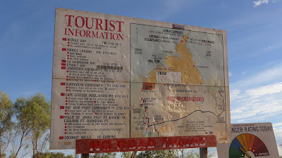 Photo of large tourist information sign with map of the Kimberely