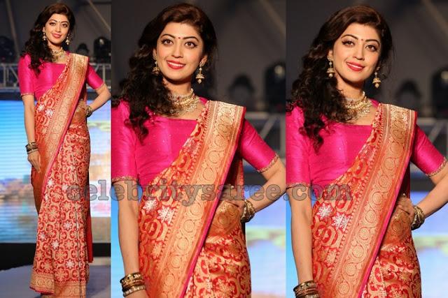 Praneetha in Red and Pink Benaras Saree