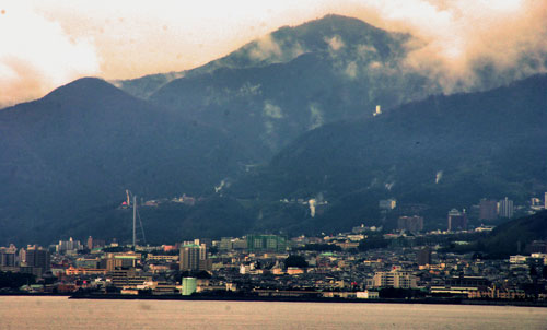 Beppu with steam from its hot springs