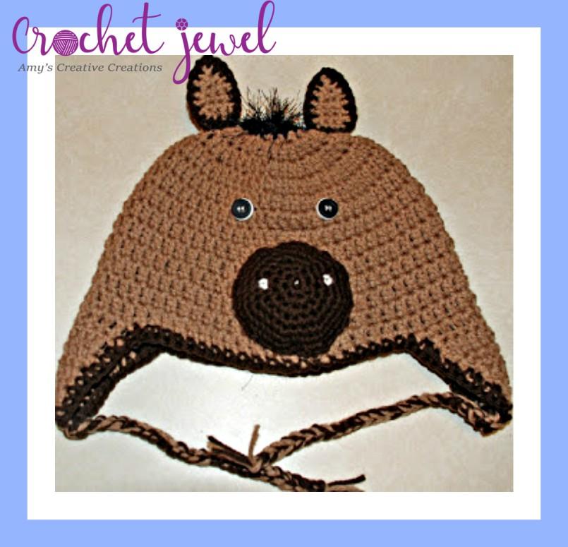 Amy s Crochet Creative Creations  Crochet Horse Ear flap Hat (All Sizes) cfa882318bf