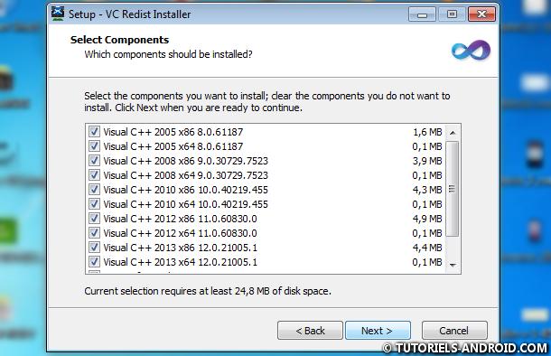 Installer Visual C++ Runtime Library sur Windows