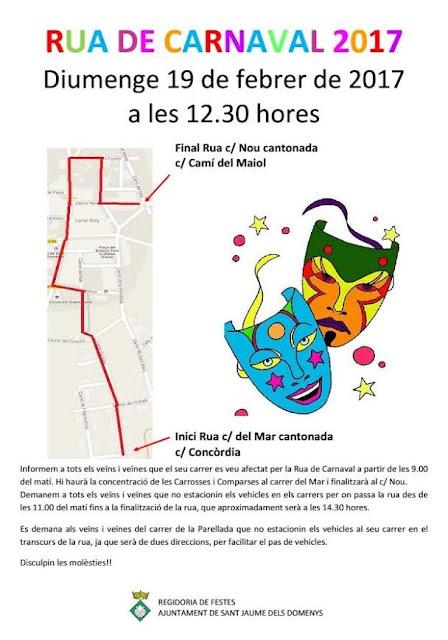 Recorregut Rua de Carnaval 19 de febrer de 2017 a Sant Jaume dels Domenys