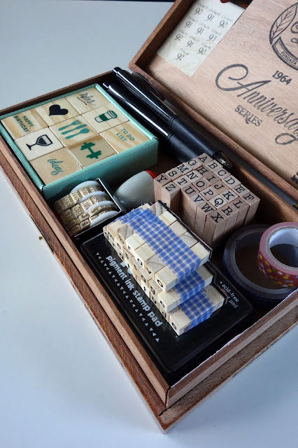 Cigar box, craft stamps, crafting box, planner, journal, ink pad, wooden box