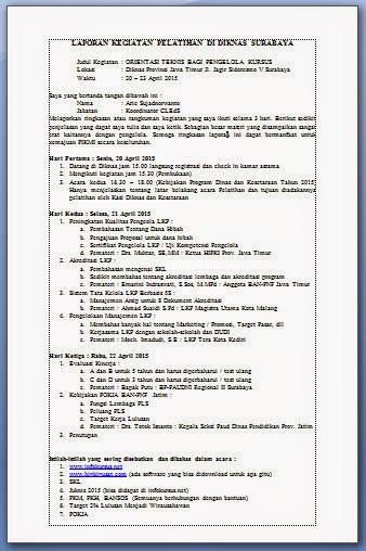 laporan kegiatan pelatihan