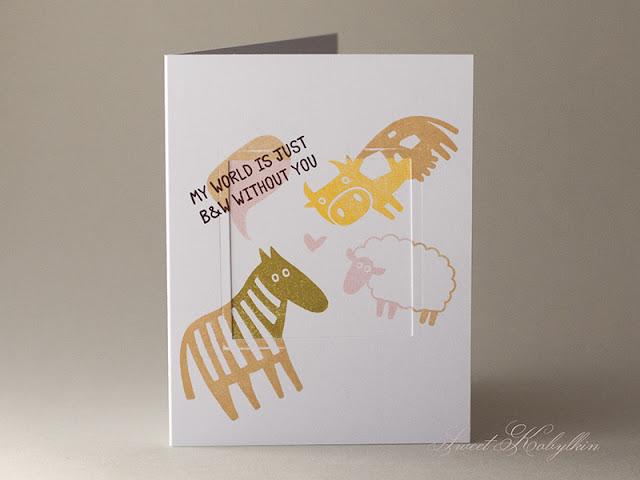 Sentimental Card with Monochrome from Waffle Flower by Sweet Kobylkin