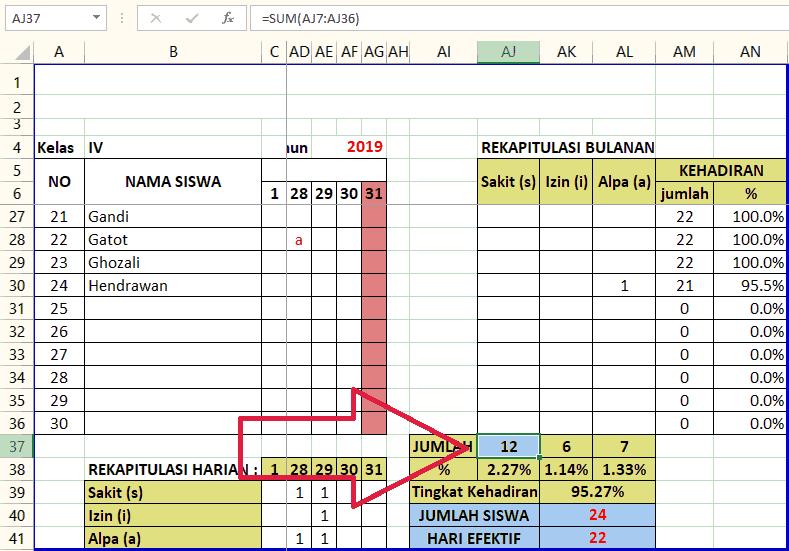 Gambar Rumus menghitung Jumlah Hari Sakit Bulanan Siswa di Microsoft Excel